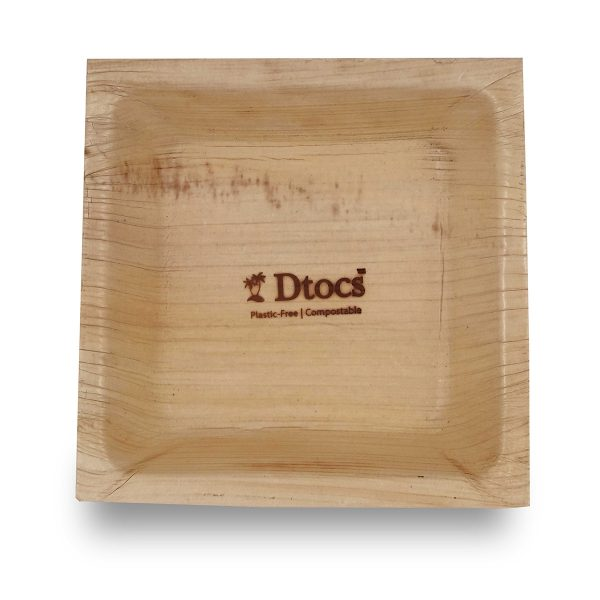 Dtocs Disposable Palm Leaf Square Bowl- 5 Inch