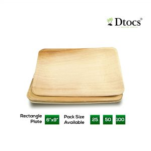 Dtocs Palm Leaf Plate - Rectangle 6x9