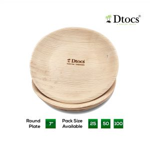 Dtocs Palm Leaf Plate - Round 7 inch